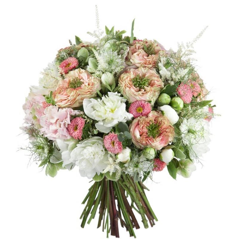 Цветочный микс с розовыми гортензиями