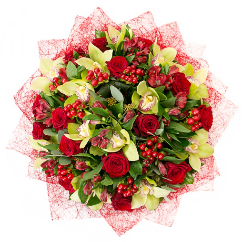 Красная цветочная композиция с зелеными орхидеями