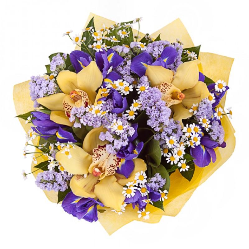 Сиреневая цветочная композиция с желтыми орхидеями