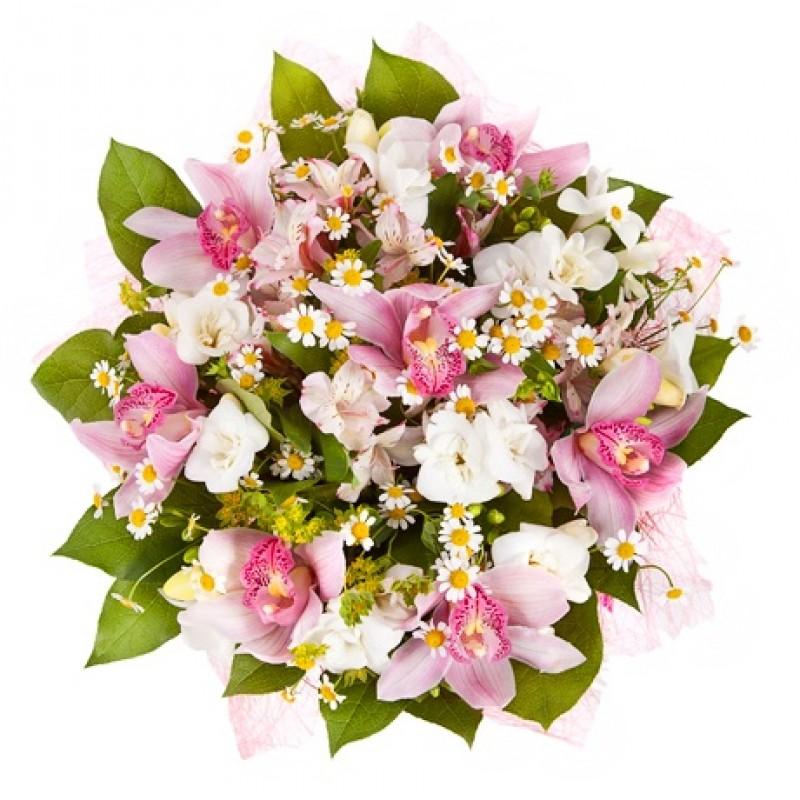 Букет из розовых орхидей с альстромериями