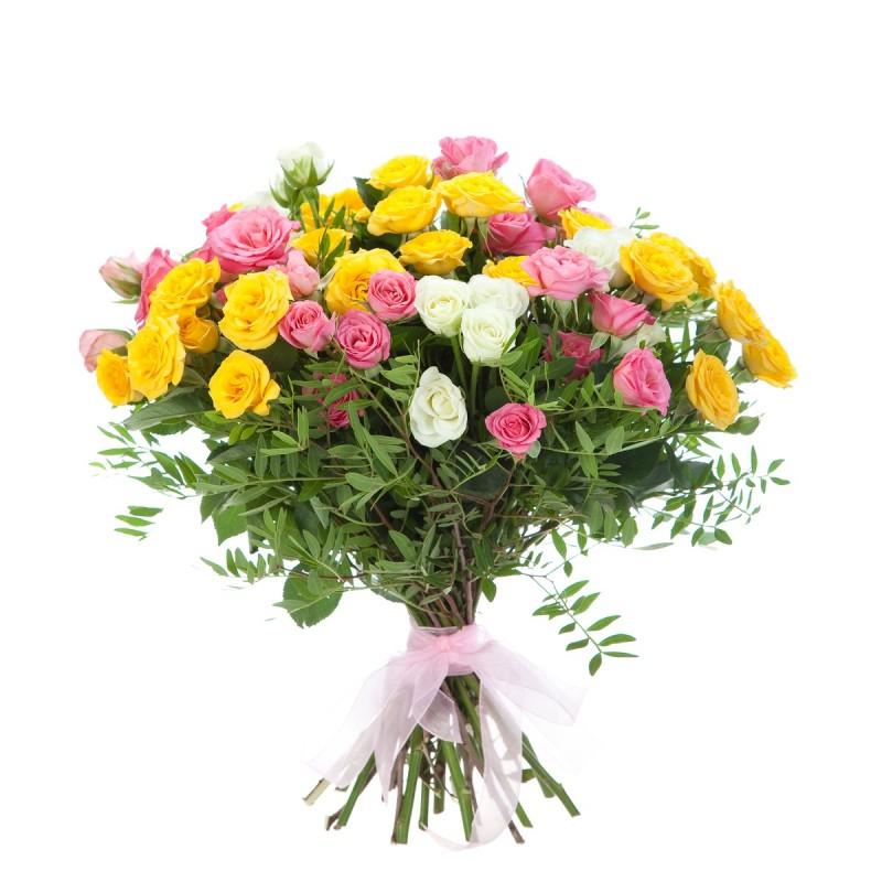 """Букет из разноцветных кустовых роз """"Спрей"""""""