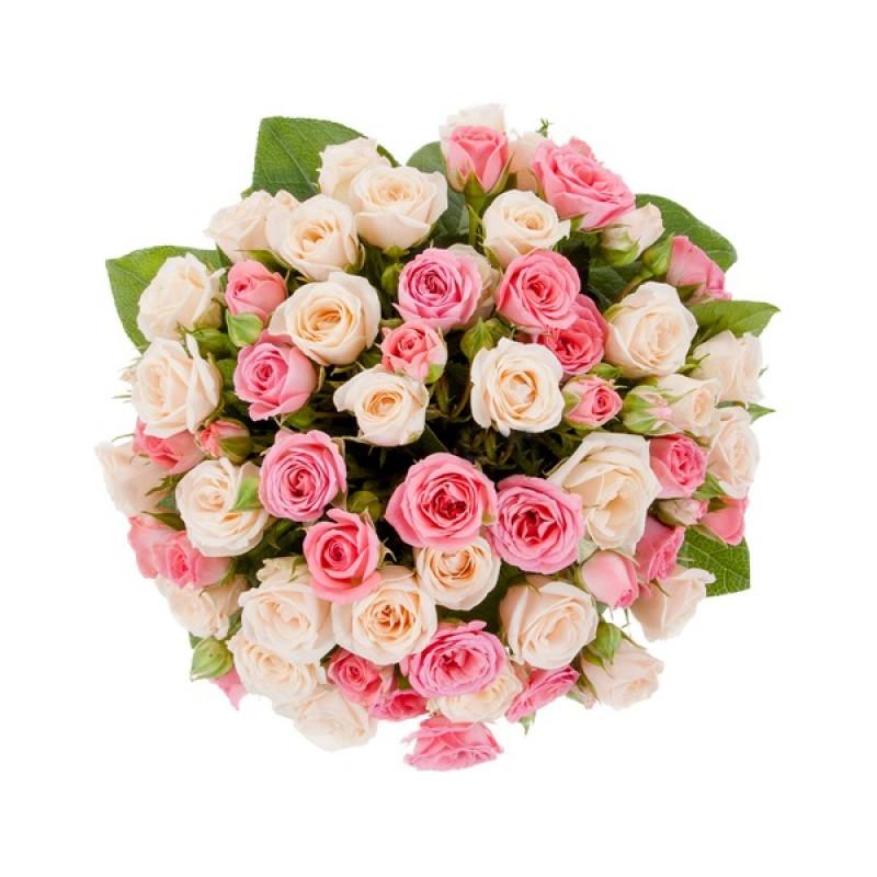 Цветочная композиция из разноцветных роз