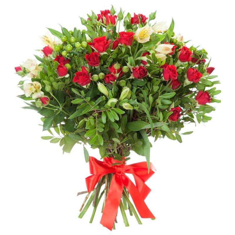 """Букет из красных кустовых роз - """"Спрей"""""""