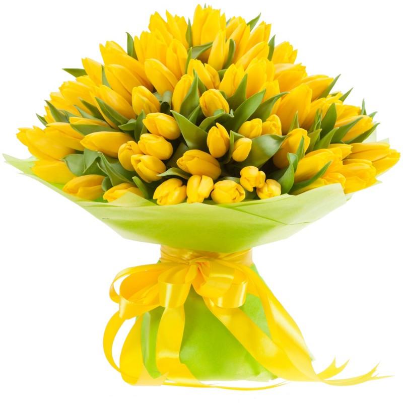 Большой букет из желтых тюльпанов