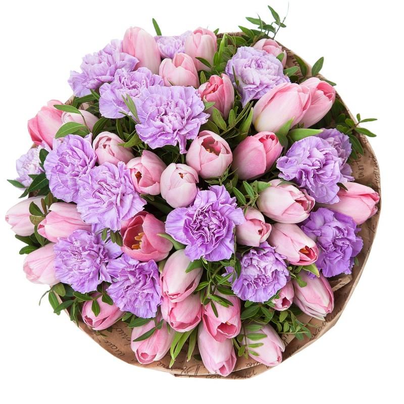 Букет из тюльпанов и гвоздик